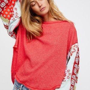 We The Free People Red Blossom Thermal Top Size M